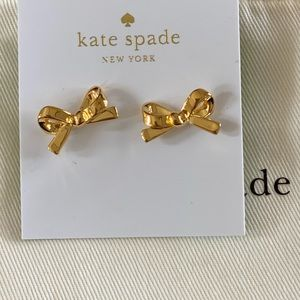 Kate Spade Skinny Mini gold bow earrings
